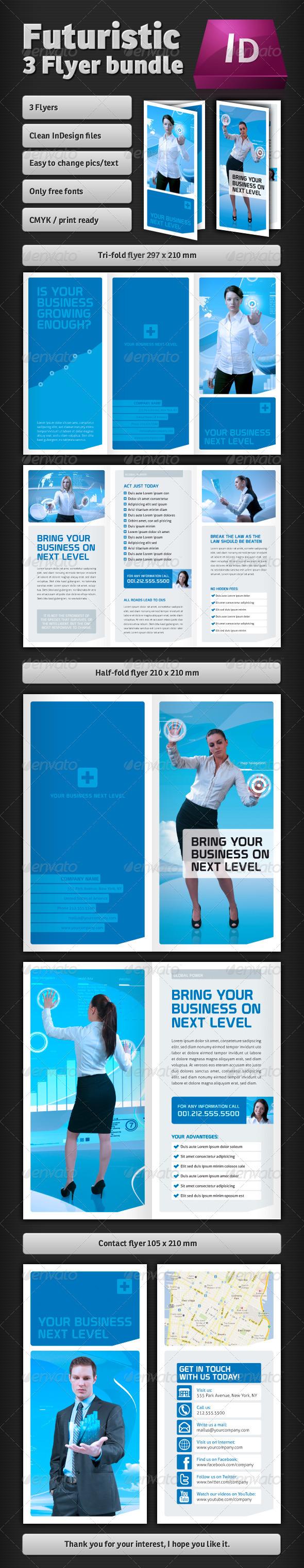 GraphicRiver Futuristic Flyer Bundle 2585405