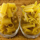 Two varieties of pasta inside two transparent glasses - PhotoDune Item for Sale