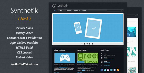 ThemeForest Synthetik Professional xHTML Template 89108