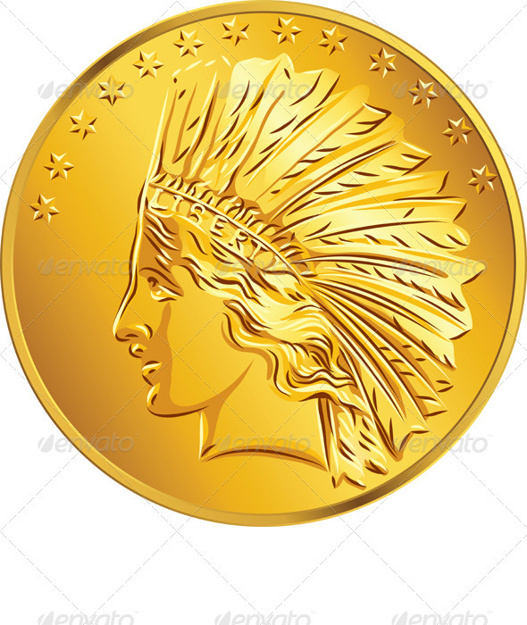Vector American Money Gold Coin Dollar - Business Conceptual