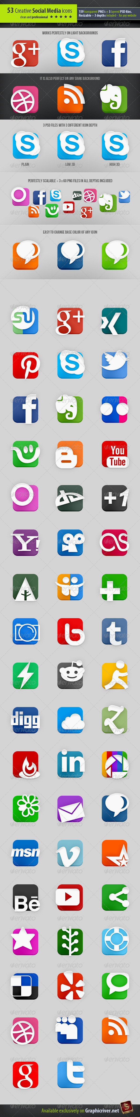 GraphicRiver 53 Creative Social Media Icons 2585079