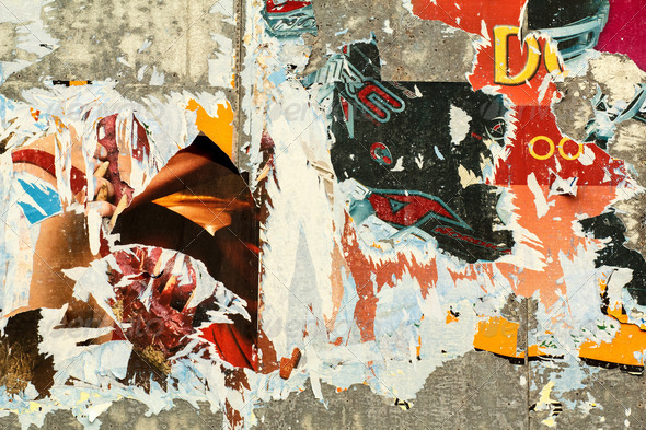grunge background with old torn posters - Stock Photo - Images