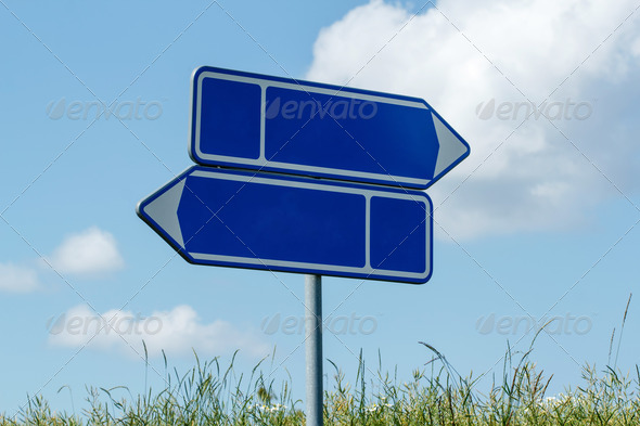 sign road with blue sky - Stock Photo - Images
