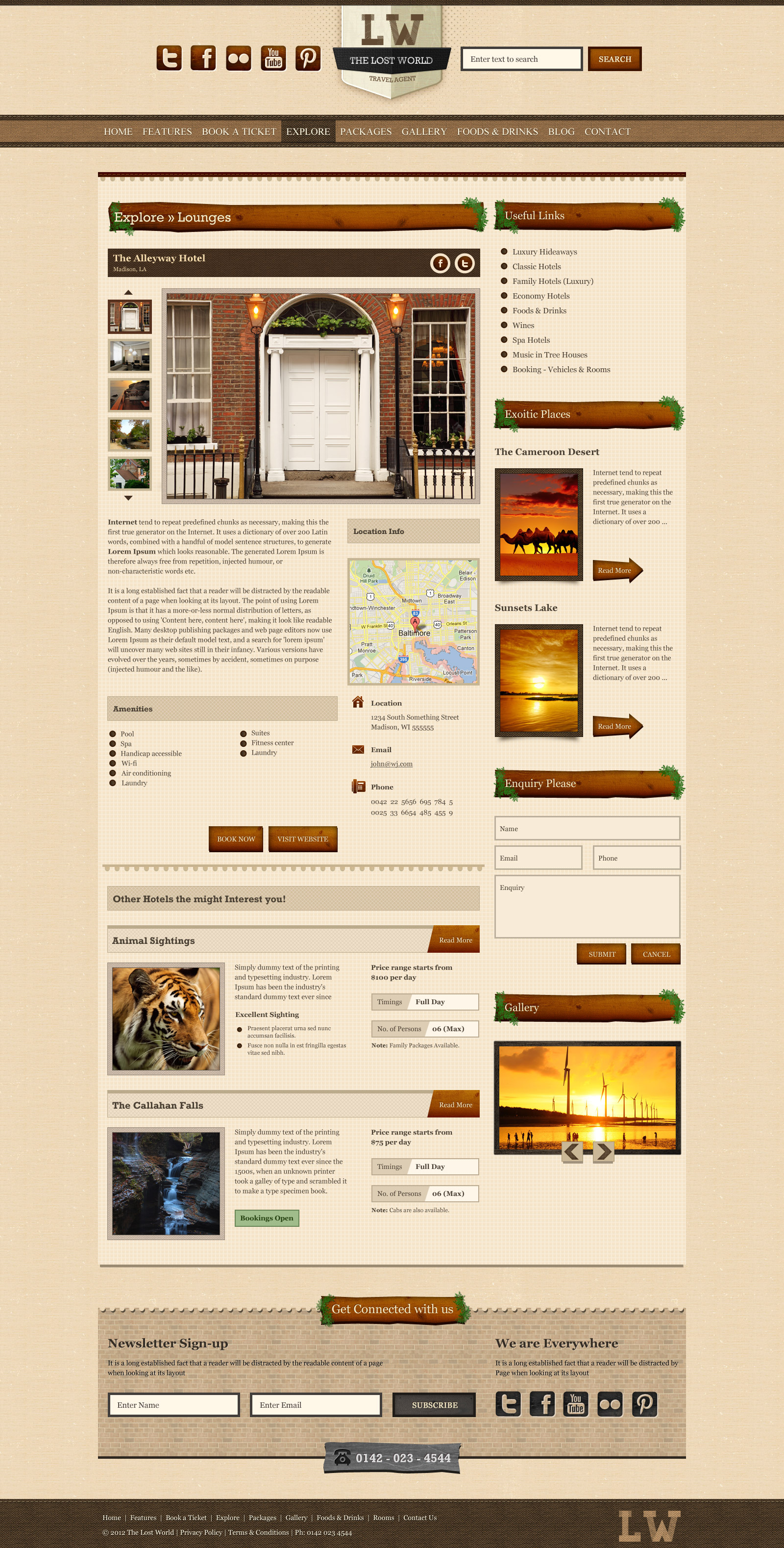 The Lost World - A Travel / Resort PSD Theme