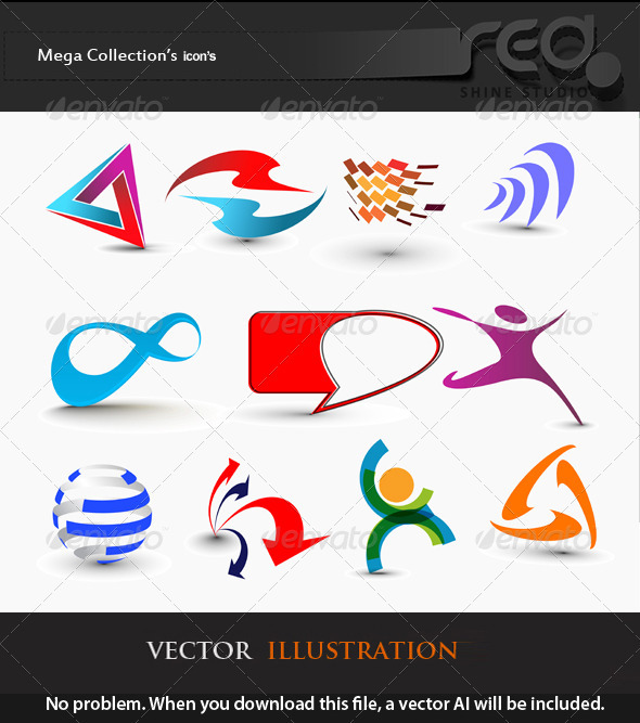 Set of Modern 3d Vector Icon - Web Elements Vectors
