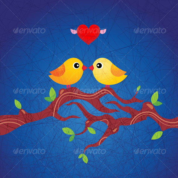 Cute birds in love - Animals Characters