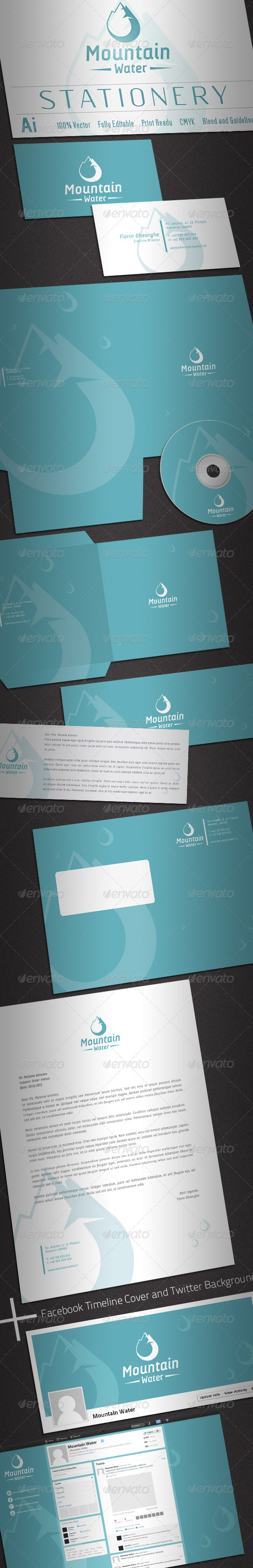 Mountain Water Stationery - Stationery Print Templates