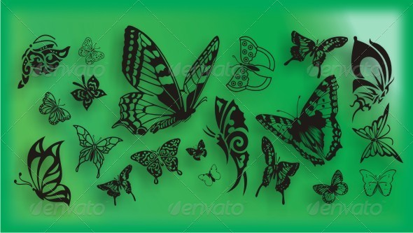 Various Butterflies - Tattoos Vectors