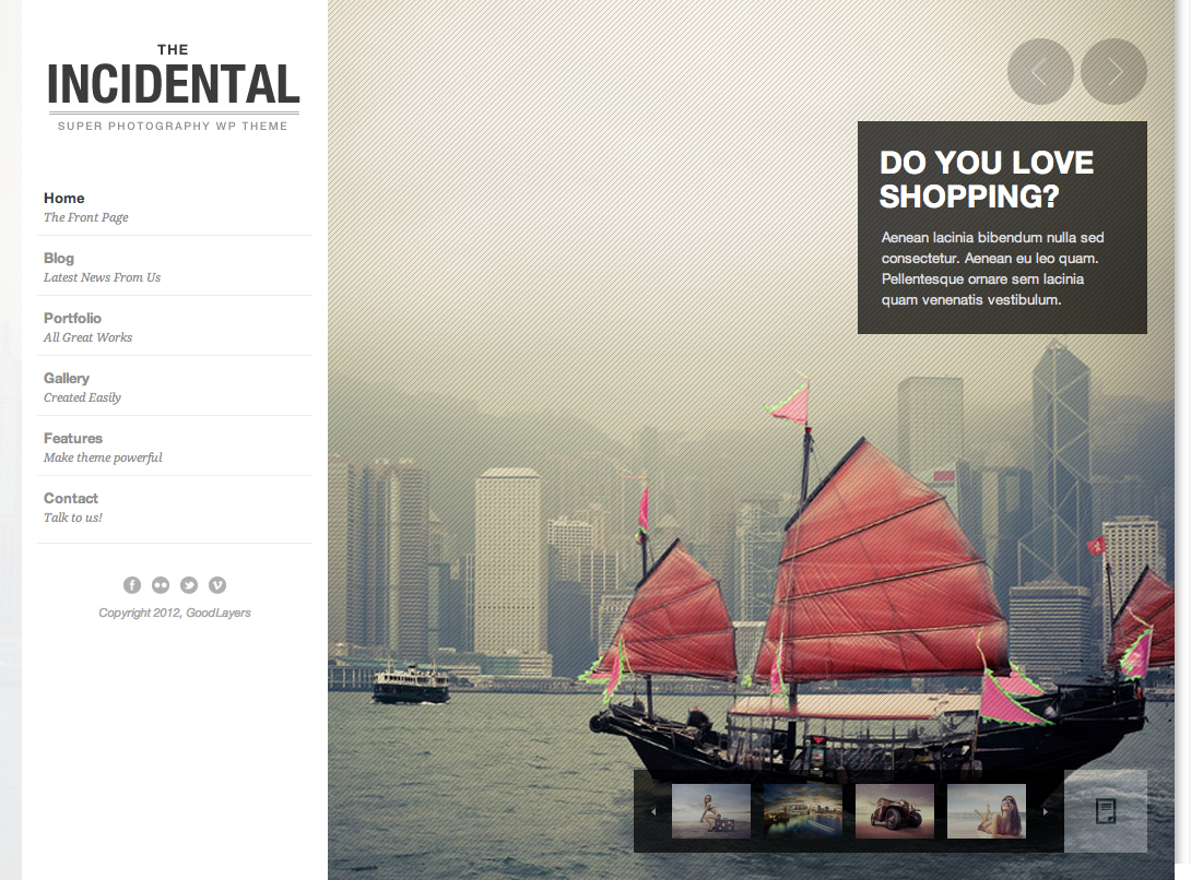 Incidental - High Class Photography WP Theme - index page with color changed