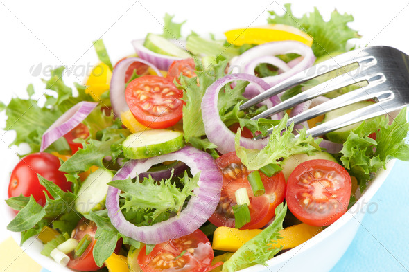 fresh salad bowl closeup - Stock Photo - Images