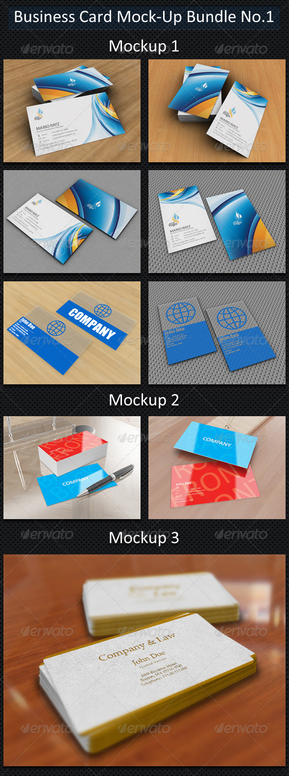 GraphicRiver Business Card Mock-Up Bundle No.1 2593496