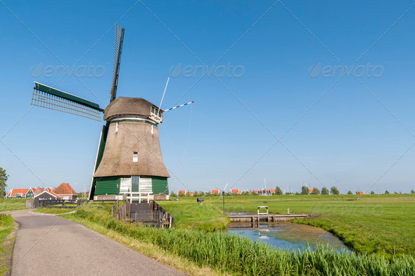 Katwoude wind mill, in Volendam - Stock Photo - Images