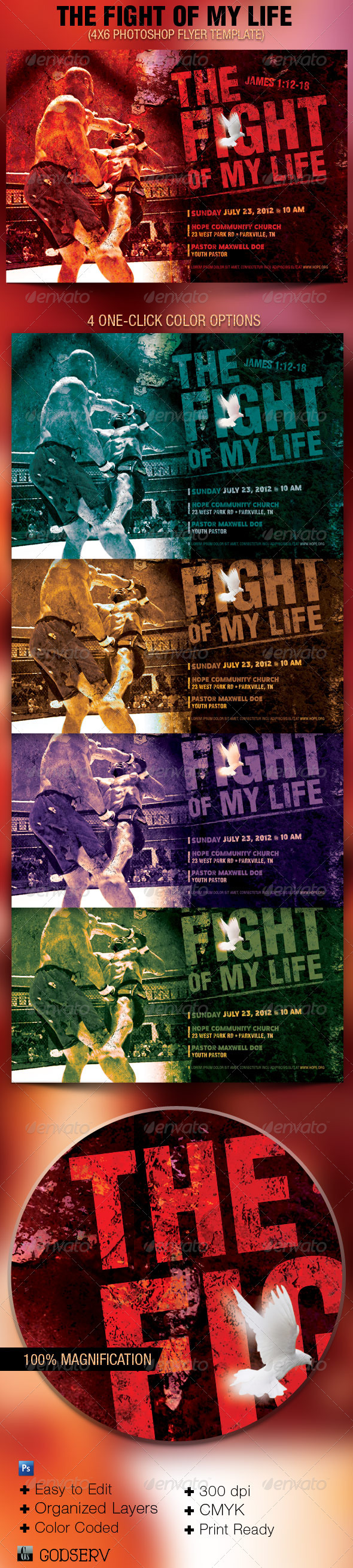 GraphicRiver The Fight of My Life Church Flyer Template 2594327