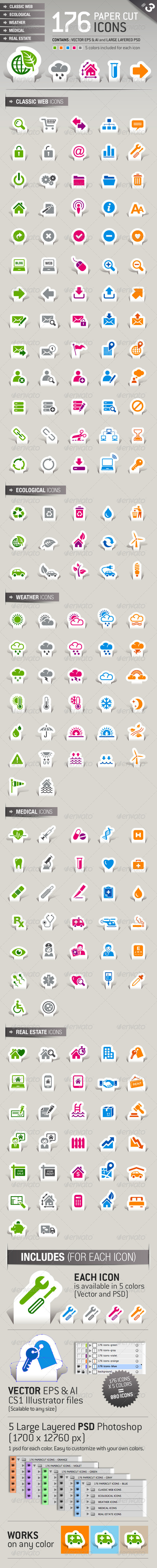 176 Papercut Icons - Business Icons