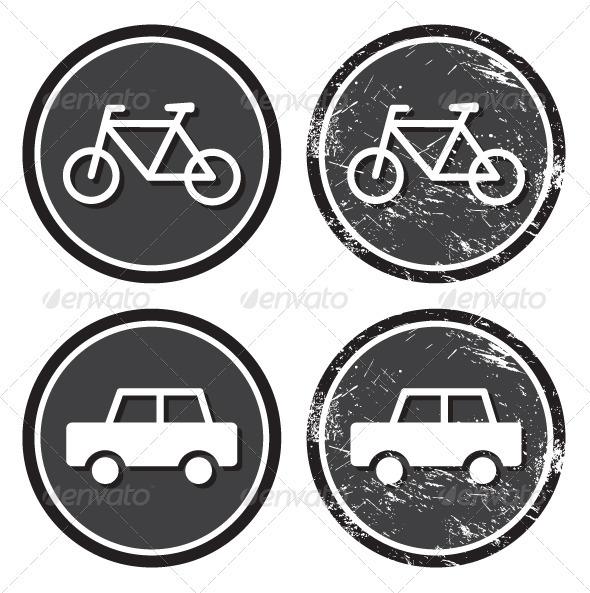 Bike and car retro labels / badges - Travel Conceptual