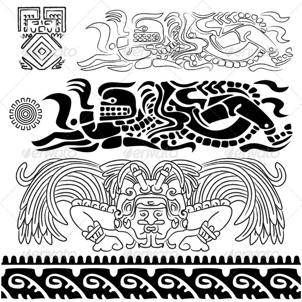 GraphicRiver Ancient patterns with Mayan gods 2598339