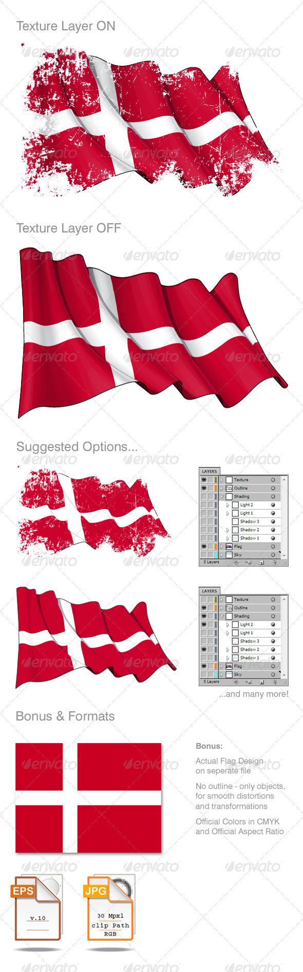 Denmark Flag Grunge