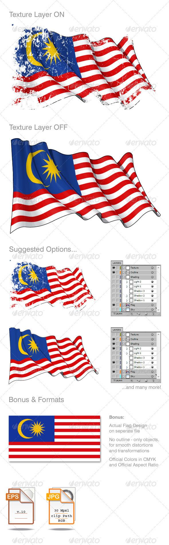 GraphicRiver Malaysia Flag Grunge 2598773