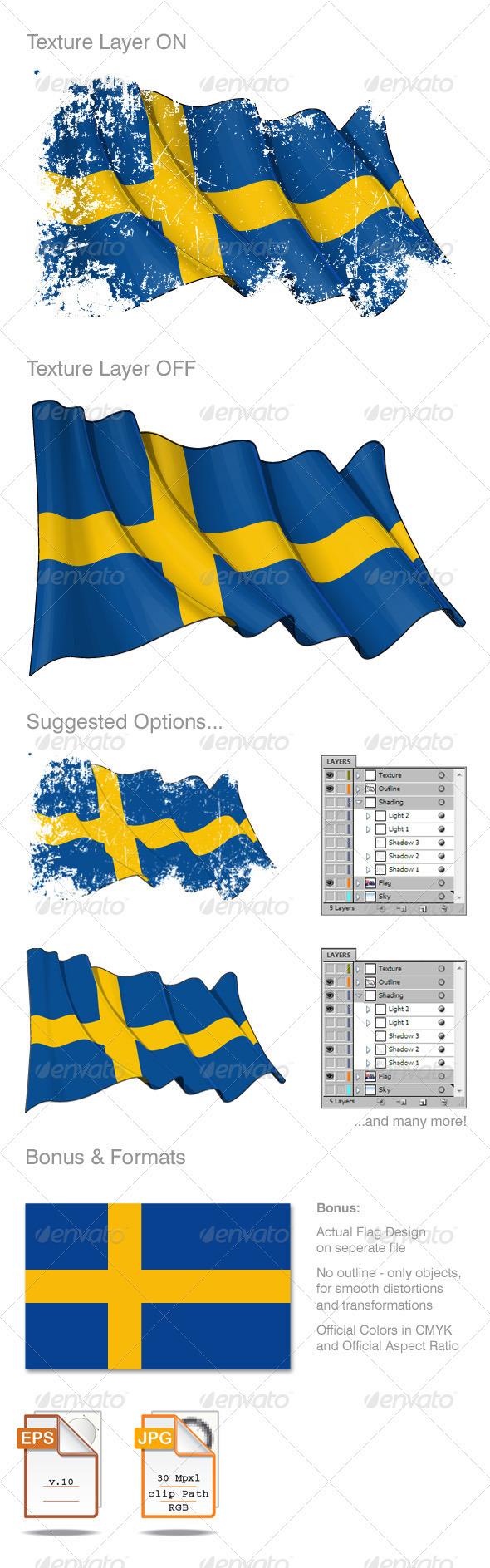 Sweden Flag Grunge