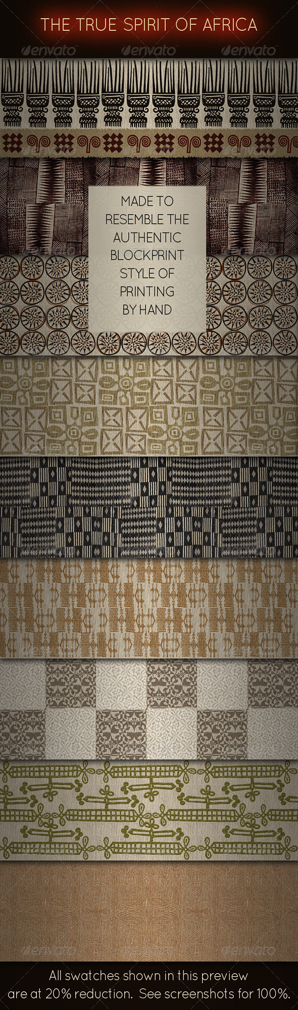 African Ethnic Fabric Designs - Blockprint Style - Fabric Textures