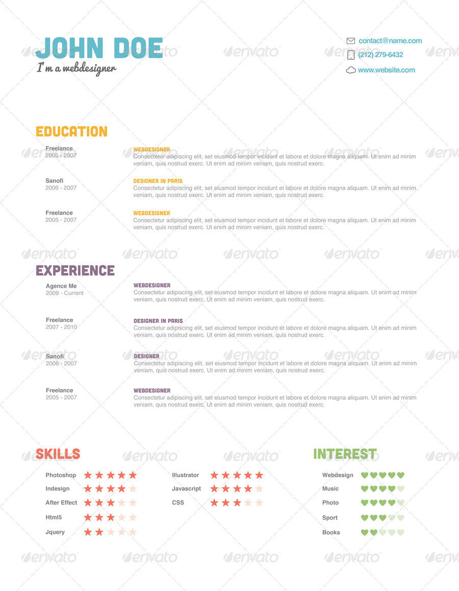 color resume pack by agenceme graphicriver color resume pack