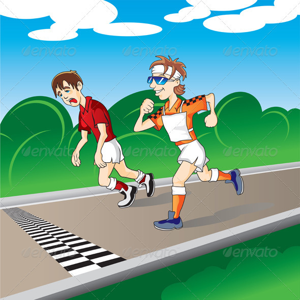 Marathon runners at the finish - Characters Vectors