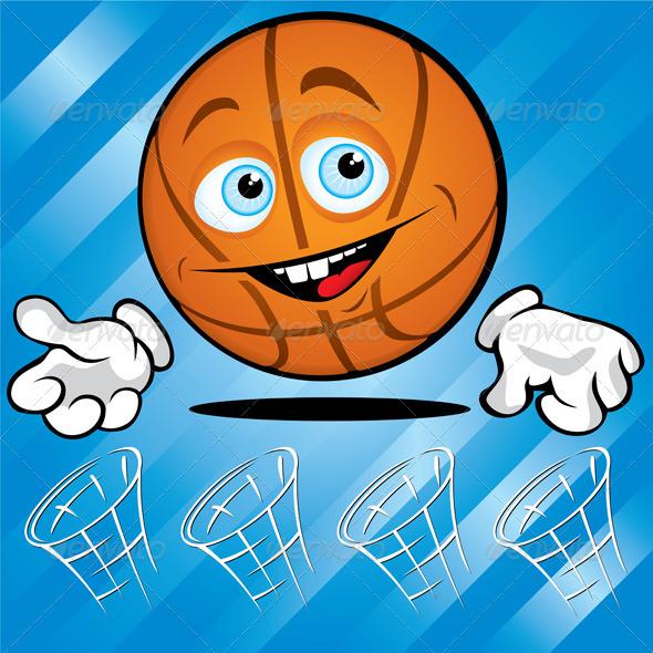 Funny smiling basket ball - Characters Vectors
