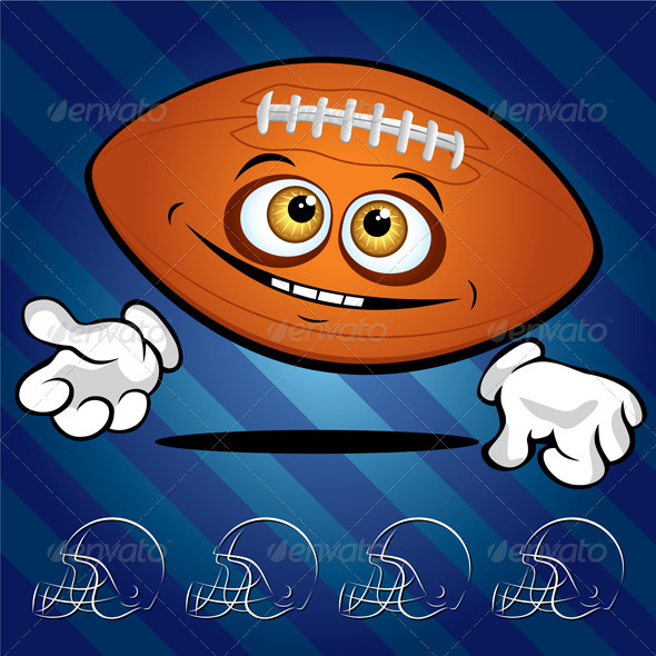 Funny smiling football ball