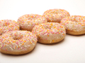 Six ring donuts with spinkles on - PhotoDune Item for Sale