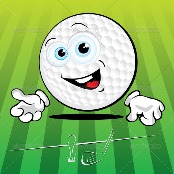 Funny smiling golf ball - Characters Vectors