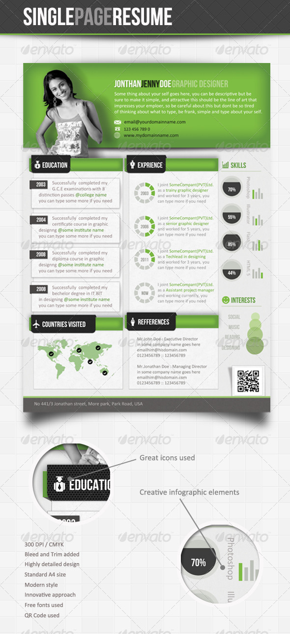 GraphicRiver Green Theme Info-Graphic Single Page Resume 2599194