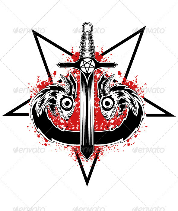Evil Serpent Sword - Tattoos Vectors