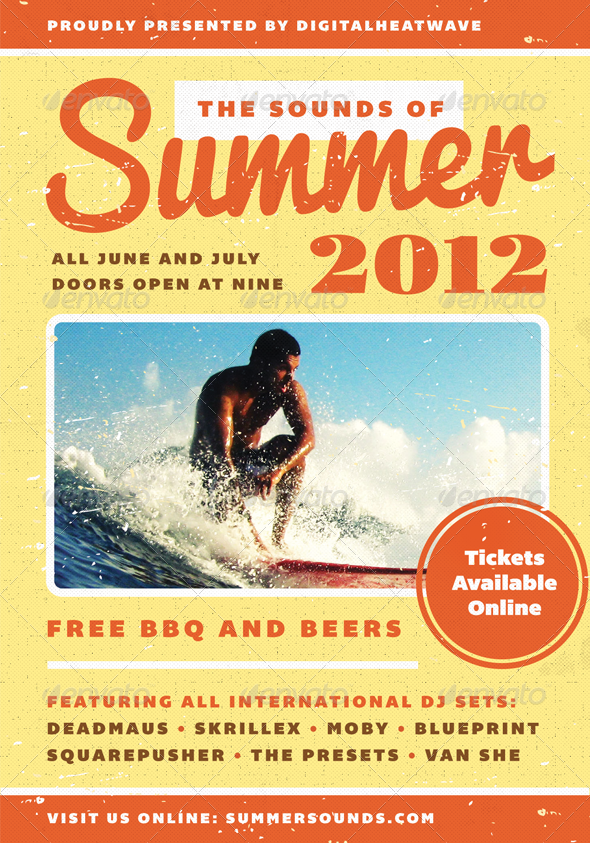 Summer Sound - Summer Flyer Template - Clubs & Parties Events