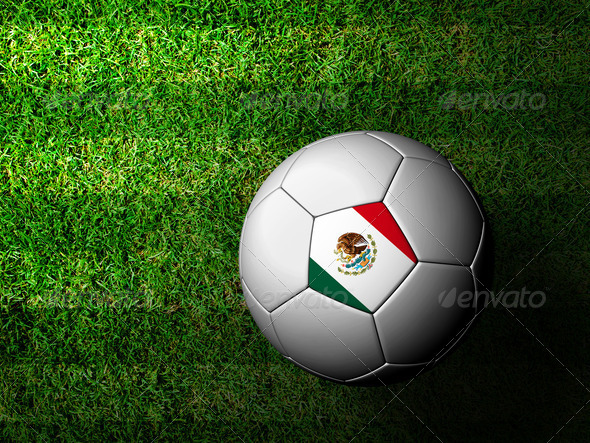 Mexico Flag Pattern 3d rendering of a soccer ball in green grass - Stock Photo - Images