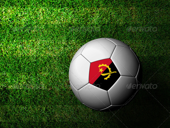Angola Flag Pattern 3d rendering of a soccer ball in green grass - Stock Photo - Images