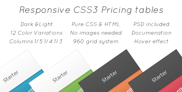 CodeCanyon Responsive CSS3 Pricing Tables 2531887