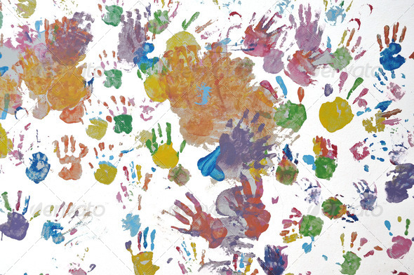 Colorful children handprint. - Stock Photo - Images