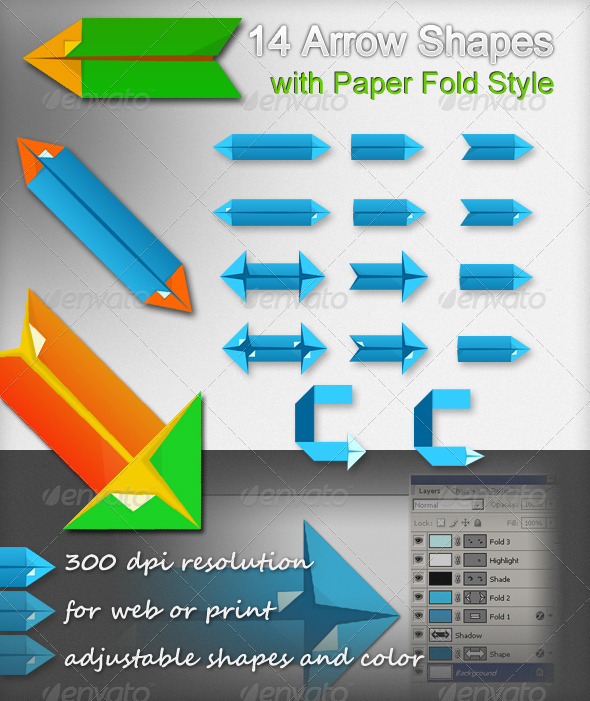 GraphicRiver 14 Arrow Shapes with Paper Fold Style 2602747