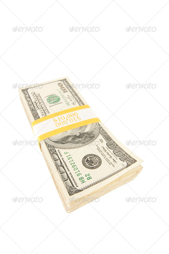 Stack of One Hundred Dollar Bills Isolated - Stock Photo - Images