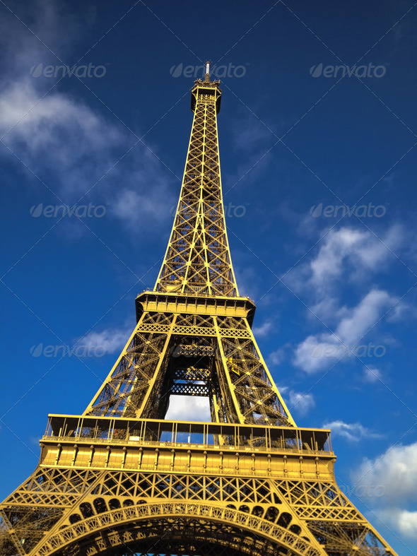 View of Famous Eiffel Tower from Champs de Mars - Stock Photo - Images