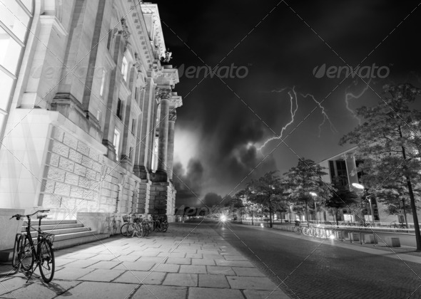 Berlin Government District at Night, side view - Stock Photo - Images
