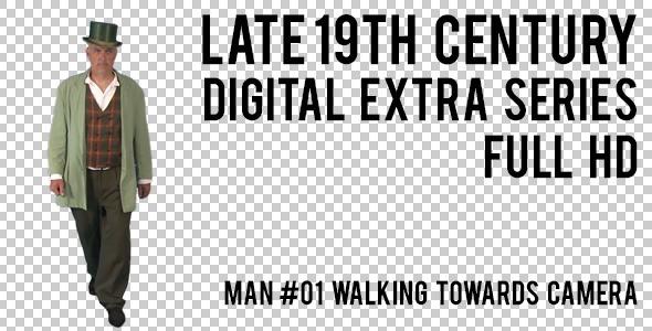 Late 19th Century Man 1 Walking Towards Camera