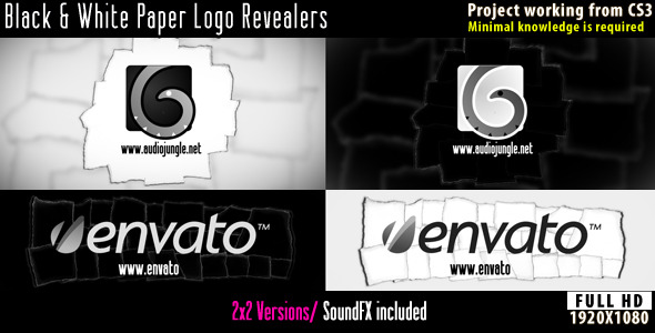 VideoHive Paper Logo Revealers Black and White 2604183