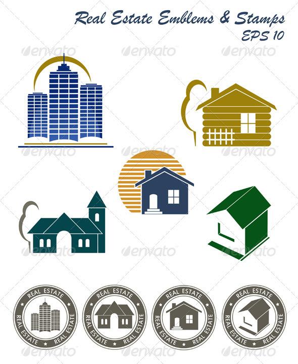 Real Estate Emblem And Stamp Set
