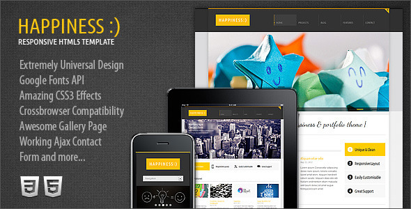ThemeForest Happiness Responsive Premium HTML5 CSS3 Template 2604780