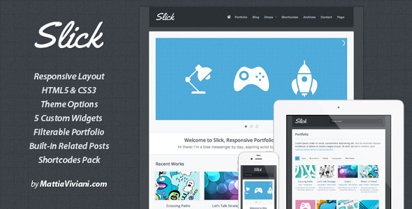 ThemeForest Slick Responsive Portfolio WordPress Theme 2496963