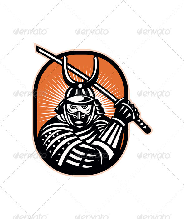 GraphicRiver Japanese Samurai Warrior Sword Retro 2606223