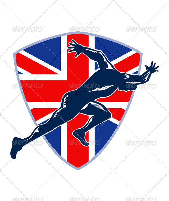 Runner Sprinter Start British Flag Shield