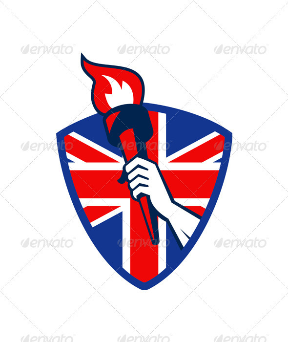 Hand Holding Flaming Torch British Flag