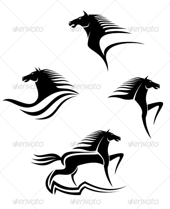 Set of black horses symbols